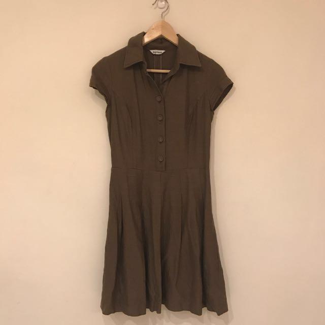 法式棉麻連身洋裝