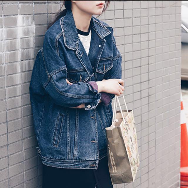 日本古著 率性寬鬆牛仔外套(可換物)