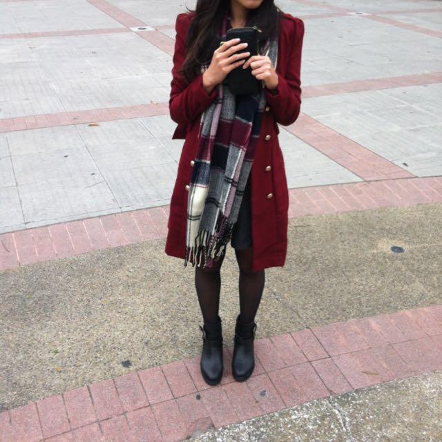 酒紅色 大衣