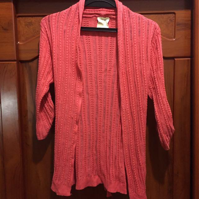 🎃二手🎃橘色長版針織外套 #手滑買太多