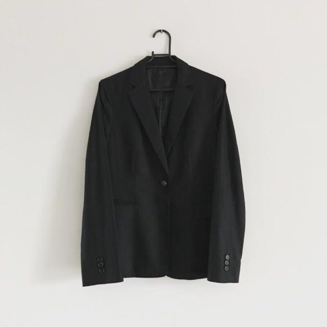 日本古著 藏藍條紋經典款西裝外套