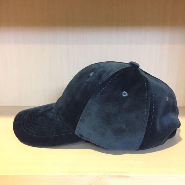 藍色天鵝絨棒球帽 老帽 韓國購入 後扣帽#手滑買太多