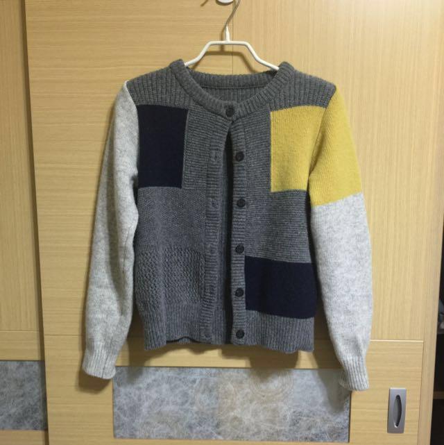 全新 正韓 羊毛拼色小罩衫 #手滑買太多