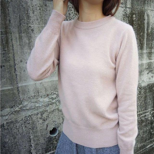 全新 正韓 混兔毛基本款粉嫩素色毛衣 #手滑買太多