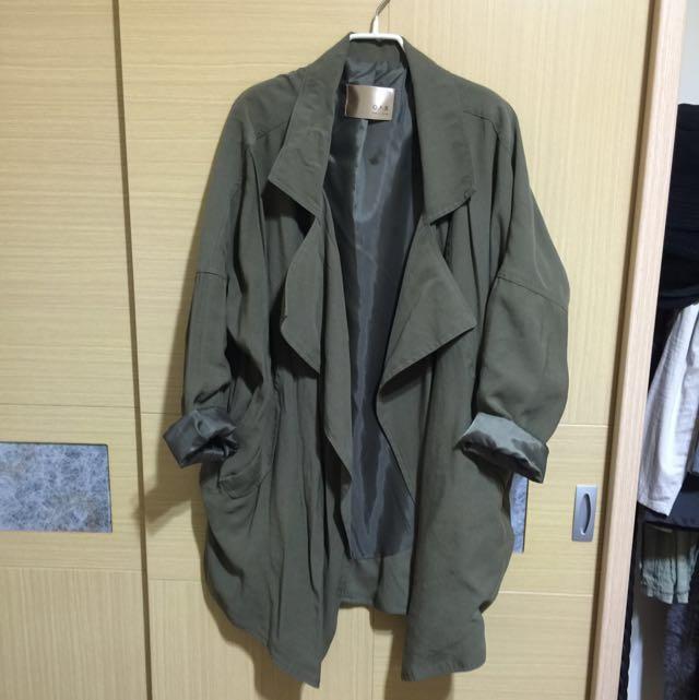 二手 正韓 軍綠長版風衣外套 #手滑買太多