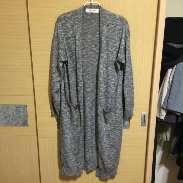 九成新 正韓 灰白雪花配色長版罩衫 #手滑買太多