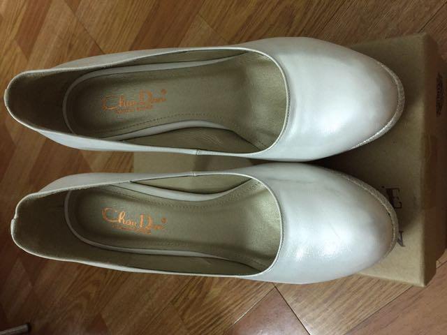 白色 氣質 中跟 亮面 婚禮鞋
