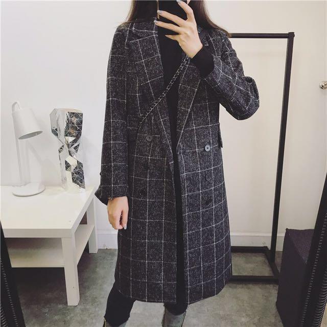 韓 東大門 大衣外套 羊毛 雙排扣 格紋