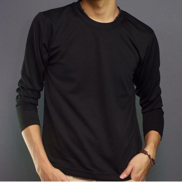 百搭單品型男必備 羅紋領口設計 精梳棉 素面圓領長袖T恤 #手滑買太多
