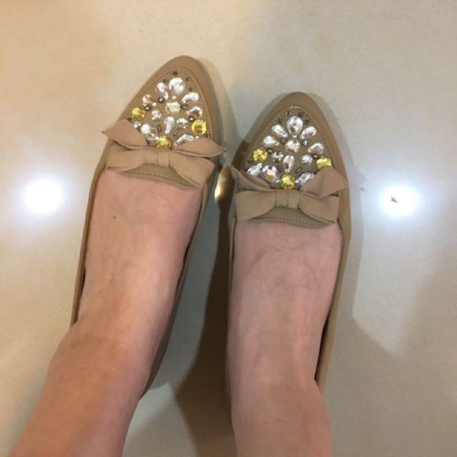 二手 日本品牌Randa杏色寶石蝴蝶結娃娃鞋