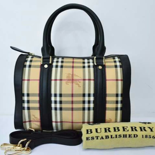 Authentic Burberry Leather Haymarket Check Coated Canvas Alchester Medium Bowling  Bag 98198d9ab1912