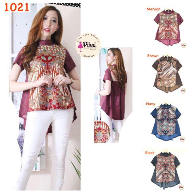 Baju Batik Modern   Atasan Batik Asimetris   Batik Cewek Murah ... 94bc66cd72