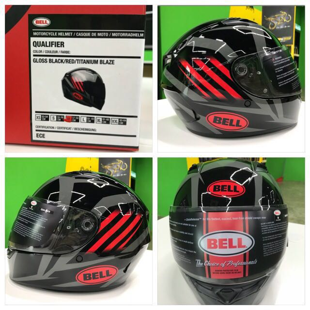 BELL QUALIFIER MOTORCYCLE HELMET BLAZE BLACK RED DOT APPROVED FREE SHIPPING NEW