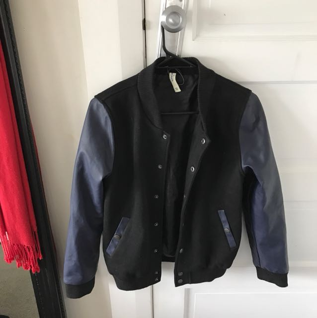 Black and Blue Bomber Jacket