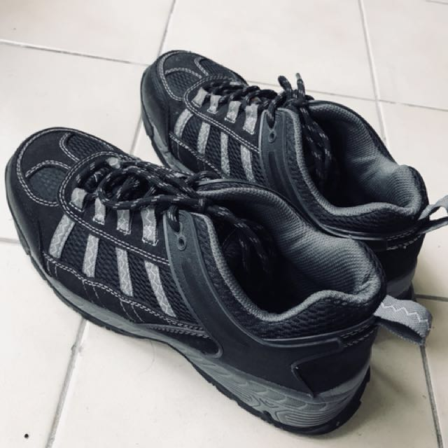 black and grey steel toe shoes