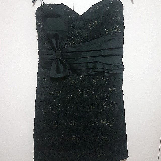 Black lace tube dress with bow 2xl