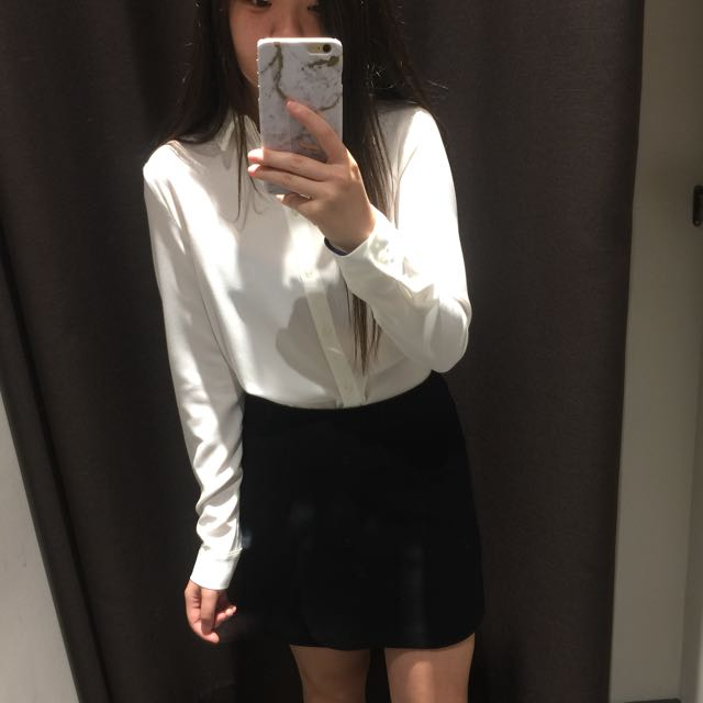 Black work skirt with overlayer detail from Mixxo