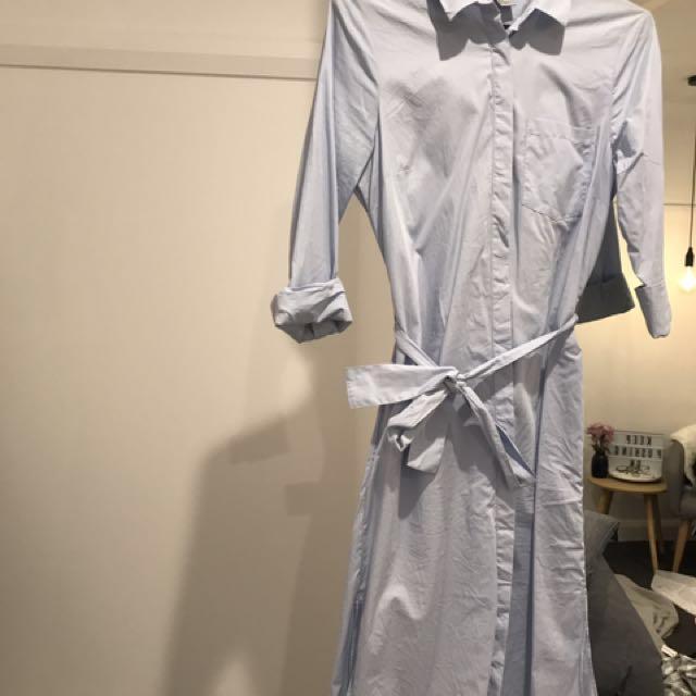 Blue Shirt Dress - Size 8