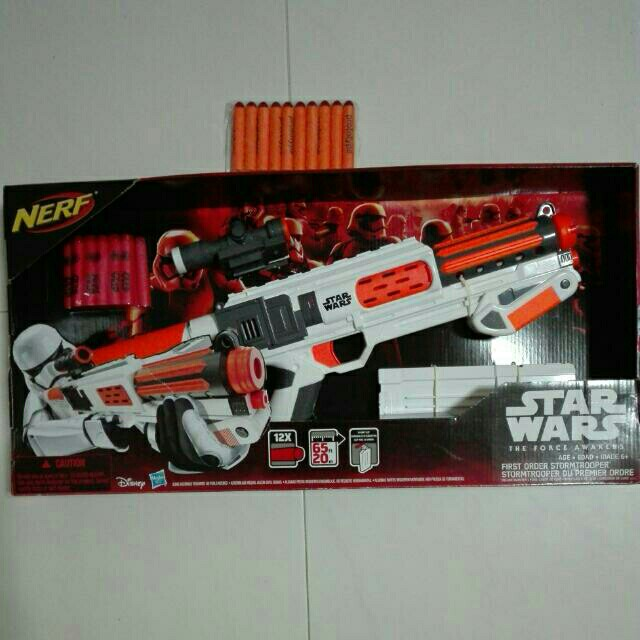 Incidentally, they're all labeled as The Last Jedi Nerf Glowstrike  blasters, and Captain Phasma's gun is one of them, so maybe she survived  the destruction ...
