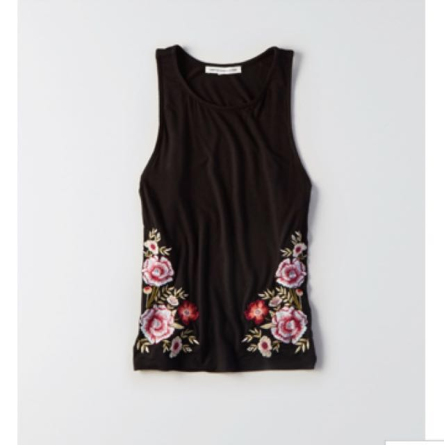 161e8c3244 BNWT American eagle outfitters flower embroidered soft and sexy tank ...