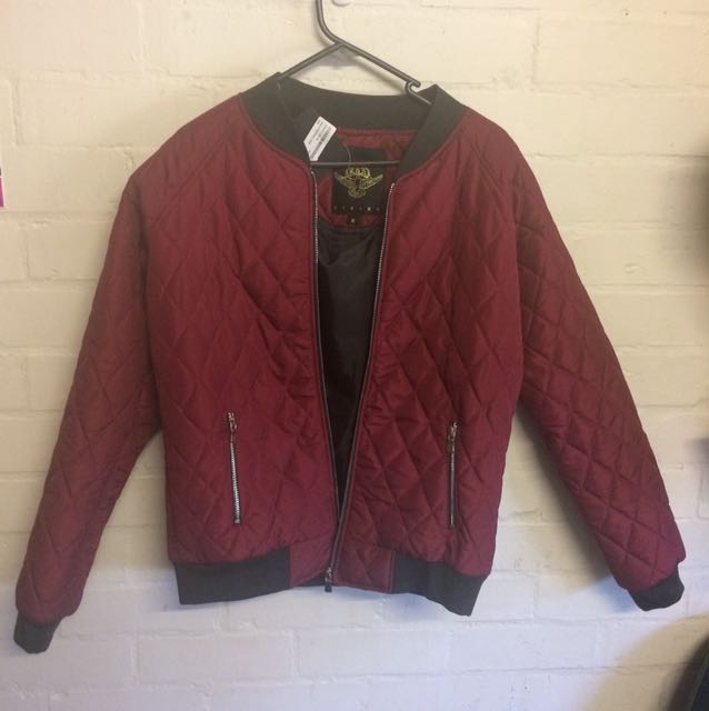 Boohoo Rising Alexis Quilted Winter Bomber Jacket Red Maroon