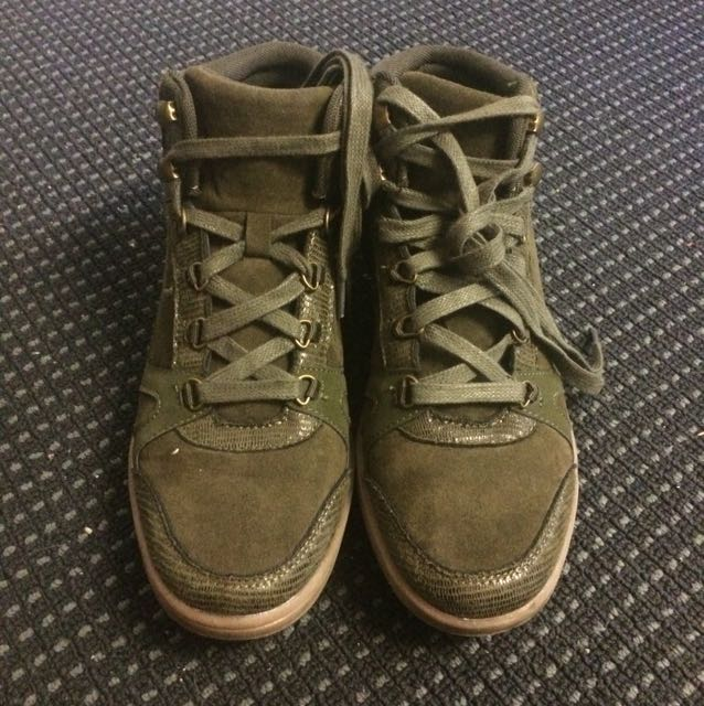Cotton On Rubi Army Green Suede High Top Sneaker Boots