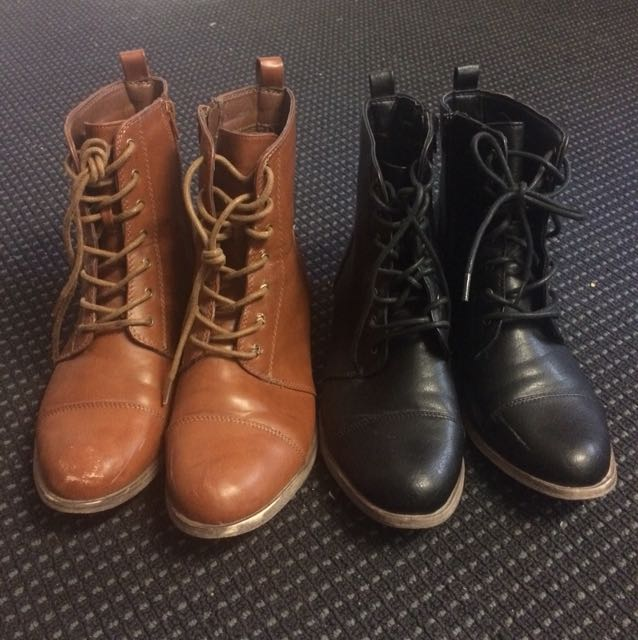 Cotton On Rubi Faux Leather Combat Boots Brown & Black
