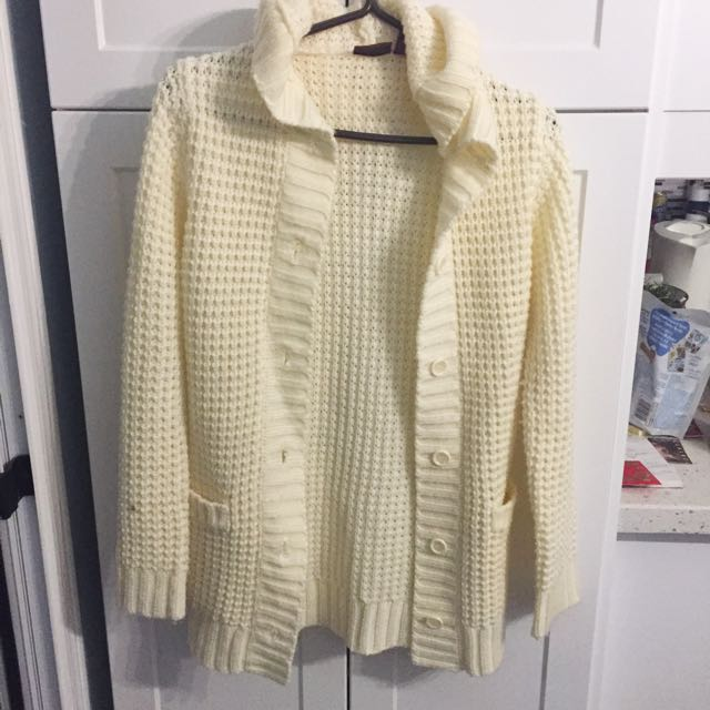 Cream Knit Cardigan with Hood