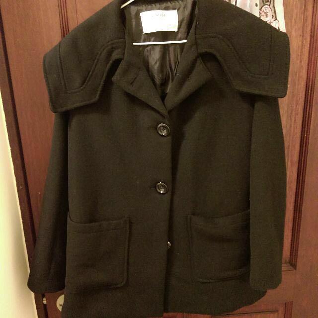 -Dan小舖- 中長版海軍領毛呢大衣外套 黑色