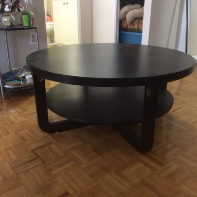 Dark Brown Round Coffee Table