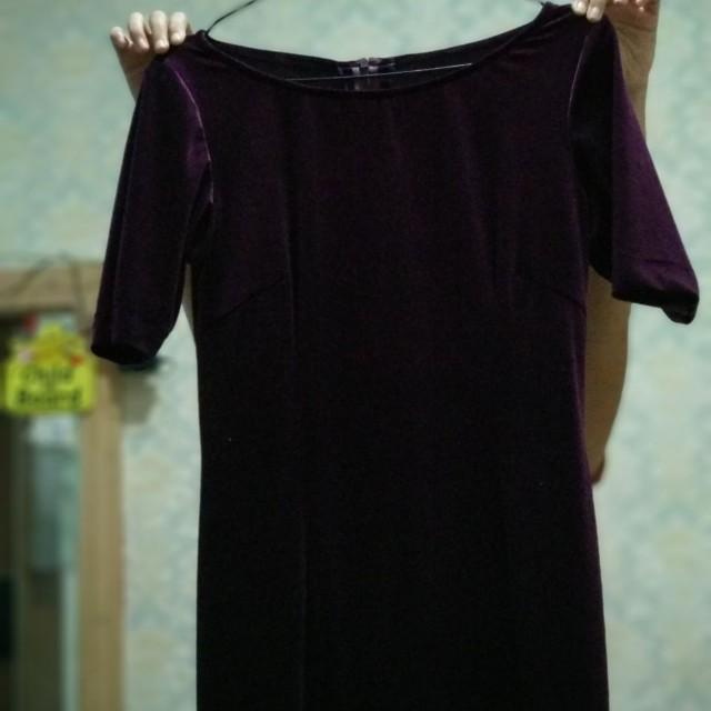 Deep purple velvet long dress