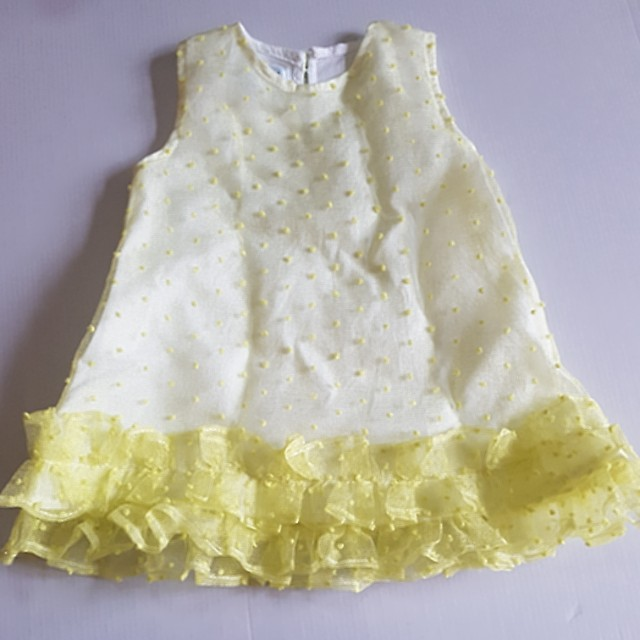 Dress baby warna kuning bahan organdi