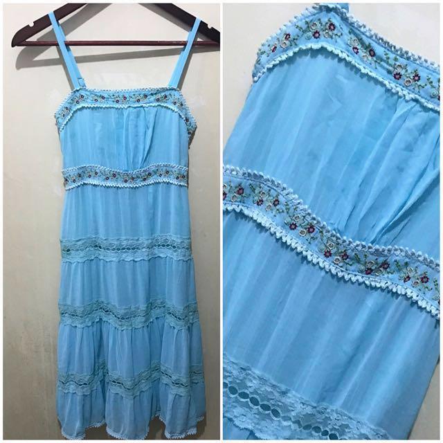 Embroidered Powder Blue Midi Dress