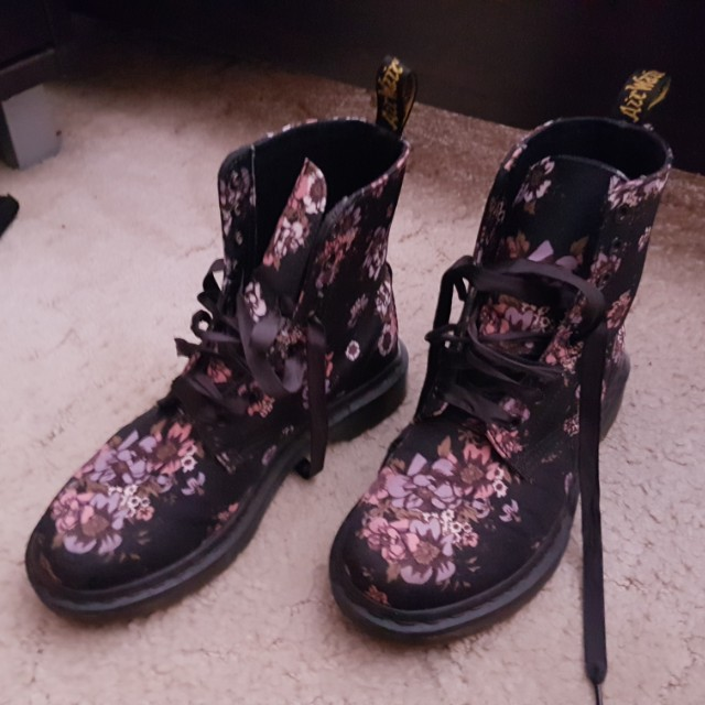 Floral Doc Martens with Ribbon Laces