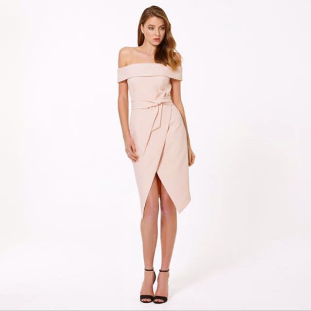 Forever New Bianca Bardot Tie Waist Dress in Cosmetic Nude