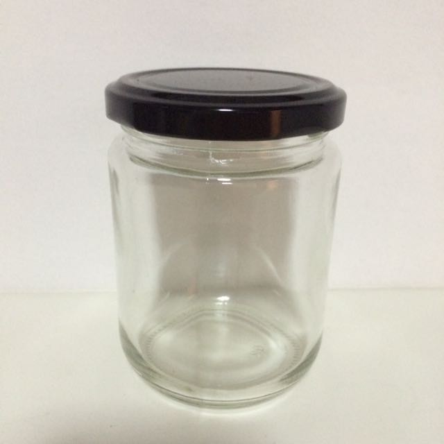 Glass Jar With Lid / Garapon Container Black