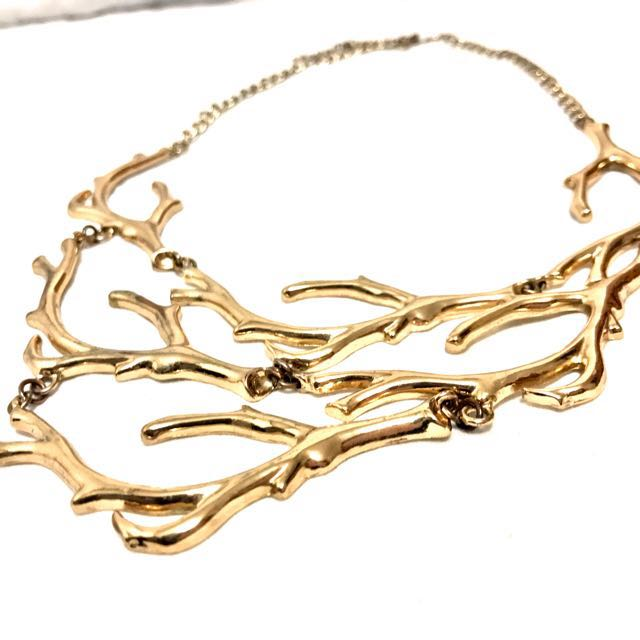 Gold Tone Tree Branch Shaped Statement Necklace
