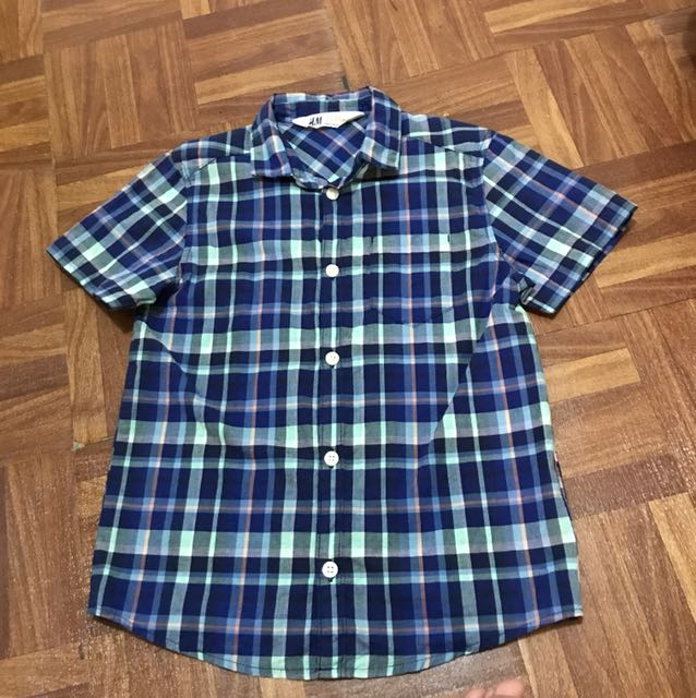 H&M Blue checkered polo