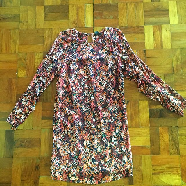 H&M Floral Frilly Long-Sleeve Dress