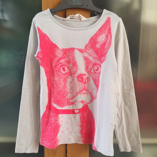 H&M grey pink doggy t-shirt
