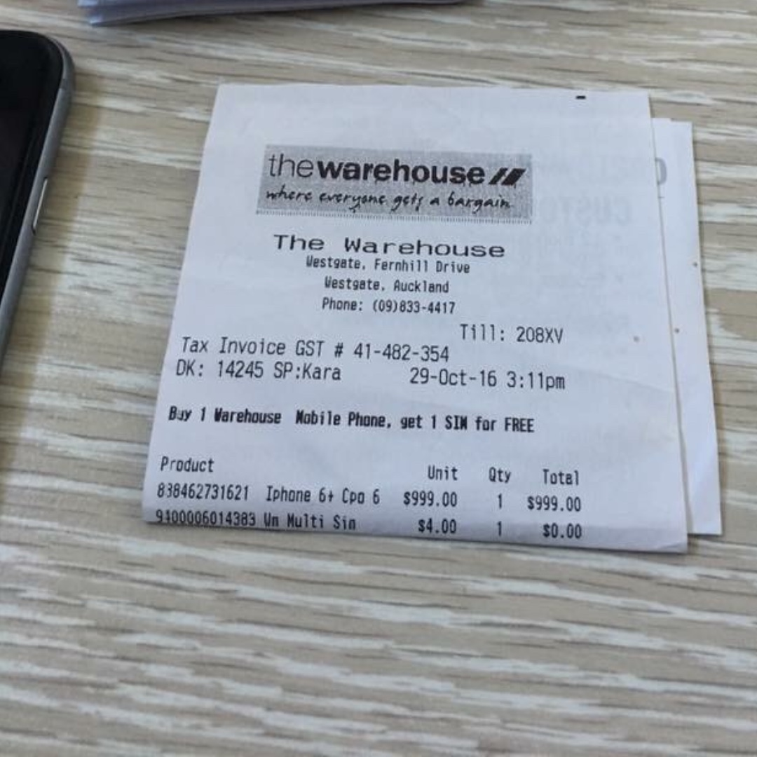 iPhone 6 plus with receipt