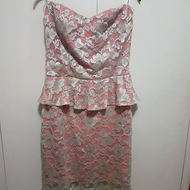 Janette plus gold and pink lace peplum tube dress 3xl