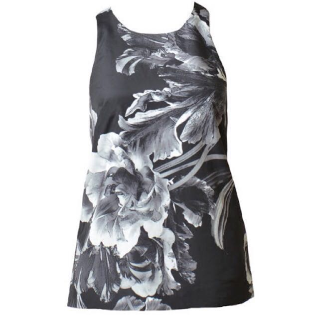 Keepsake The Label Better Off Alone Black White Bloom Tank Blouse - Size S