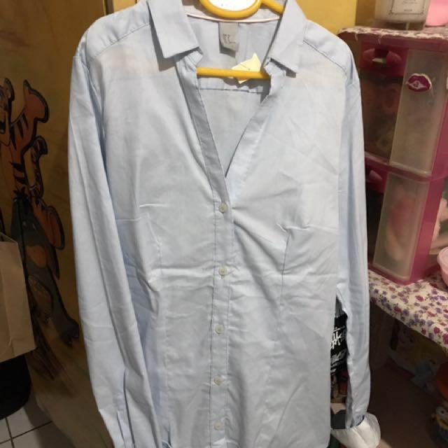 kemeja kerja H&M barang reject baby blue