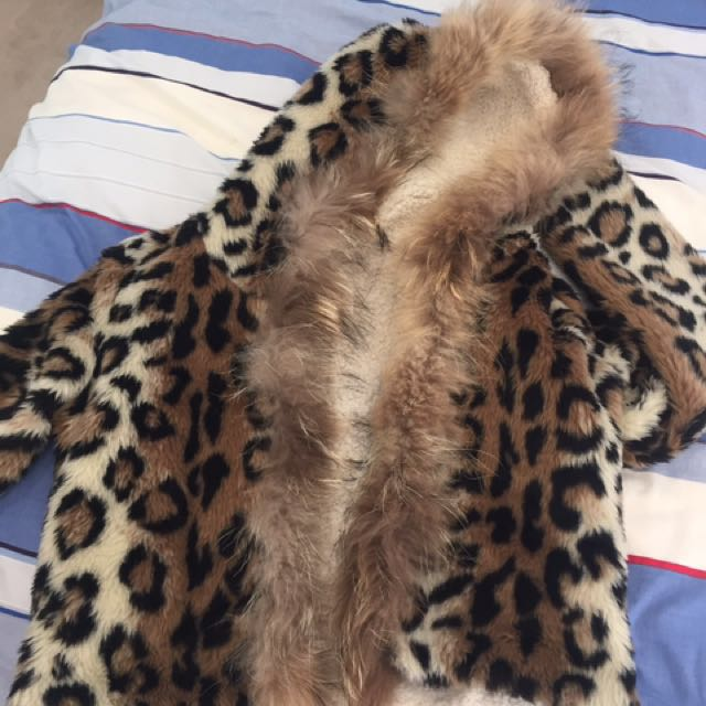 Korean leopard real fur jacket
