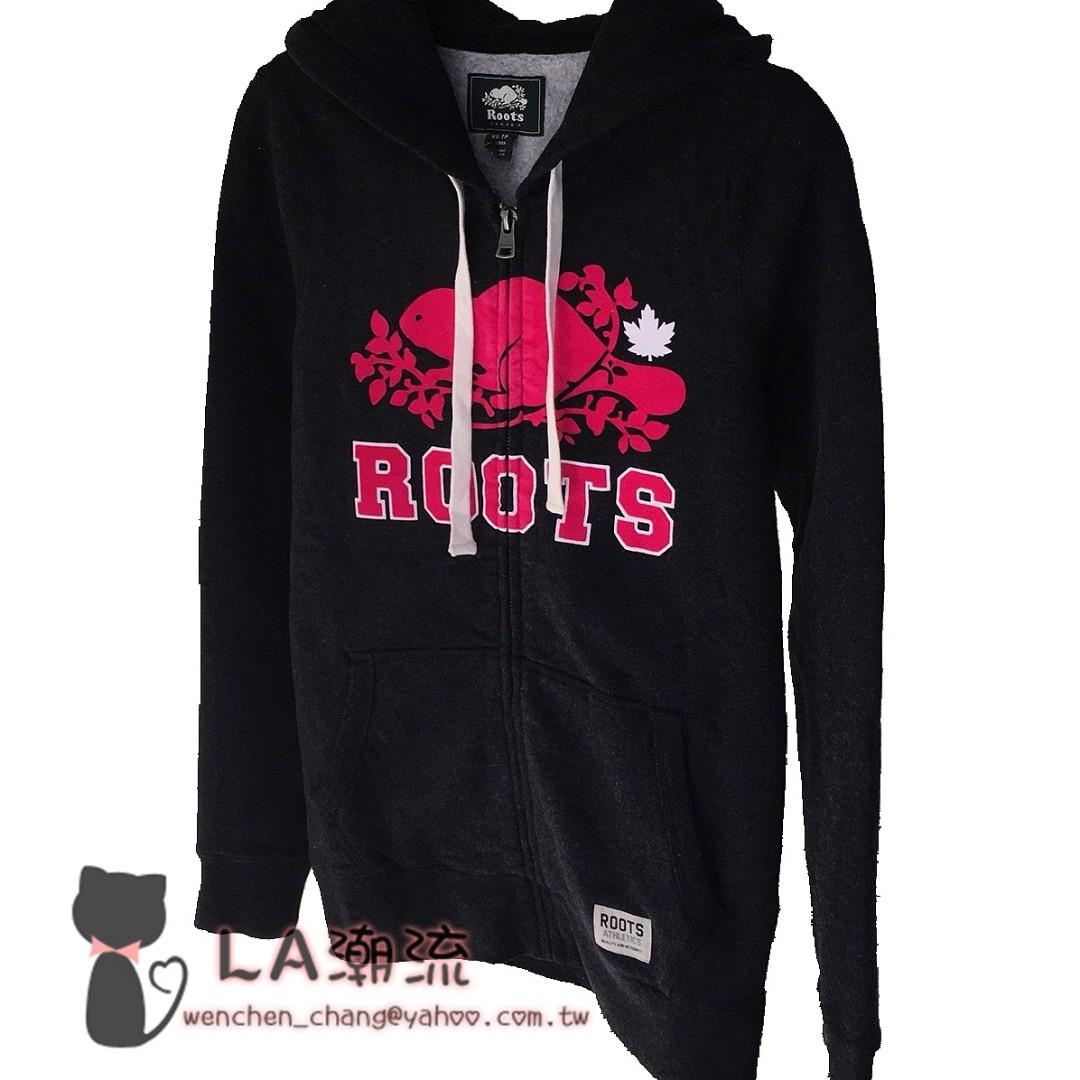 【LA 潮流】 特價,真品 ! 加拿大海狸 ROOTS 新款 女內刷毛舒適運動休閒 楓葉連帽外套-黑紅 !
