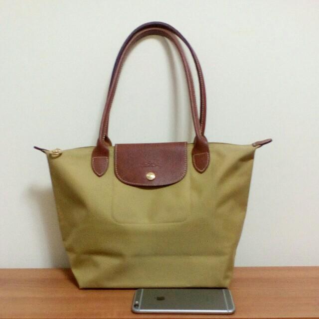 Longchamp芥末黃長柄S