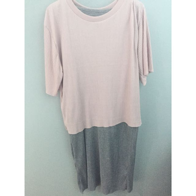 Midi loose dress grey pink
