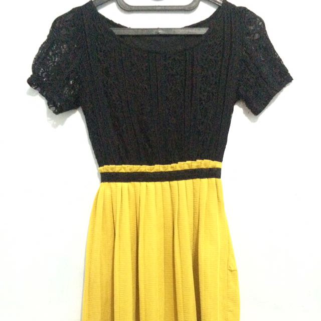 Mini Dress Black & Yellow