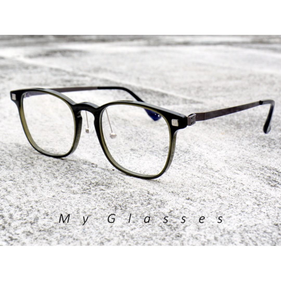 板材小文青方框眼鏡-半框-鏡框-板材鏡架-墨鏡-Myglasses個人眼鏡